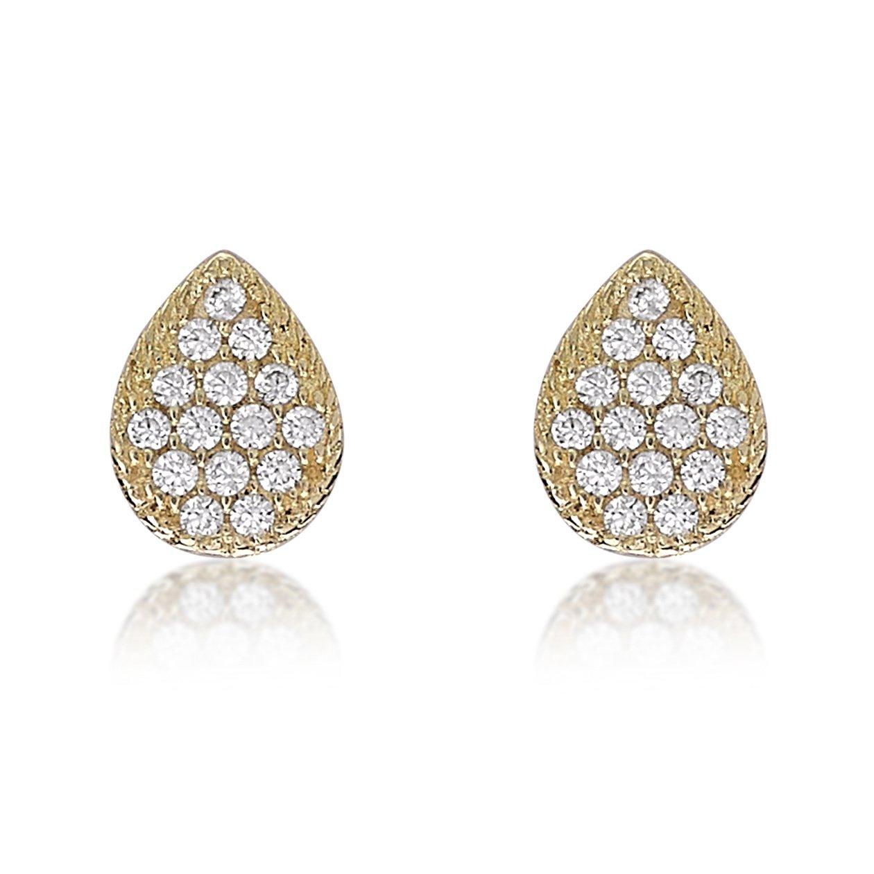 170b83b7a Carissima Gold Women's 9 ct Yellow Gold Cubic Zirconia 6 x 8 mm Pear Shaped Stud  Earrings: Amazon.co.uk: Jewellery