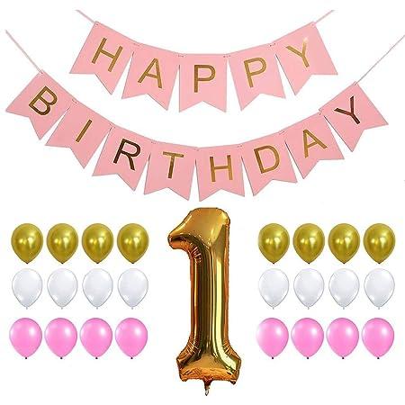 LiféUP 52 unids Feliz cumpleaños Bunting Rosa Dorado borlas ...