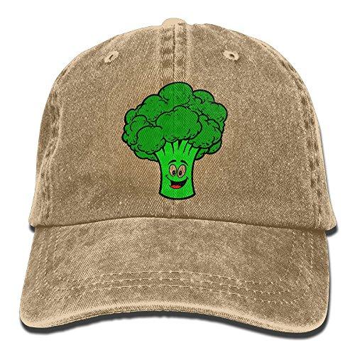 Happy Cartoon Broccoli Denim Jeanet Adjustable Unisex Outdoor Sports Cap For Men Or Women