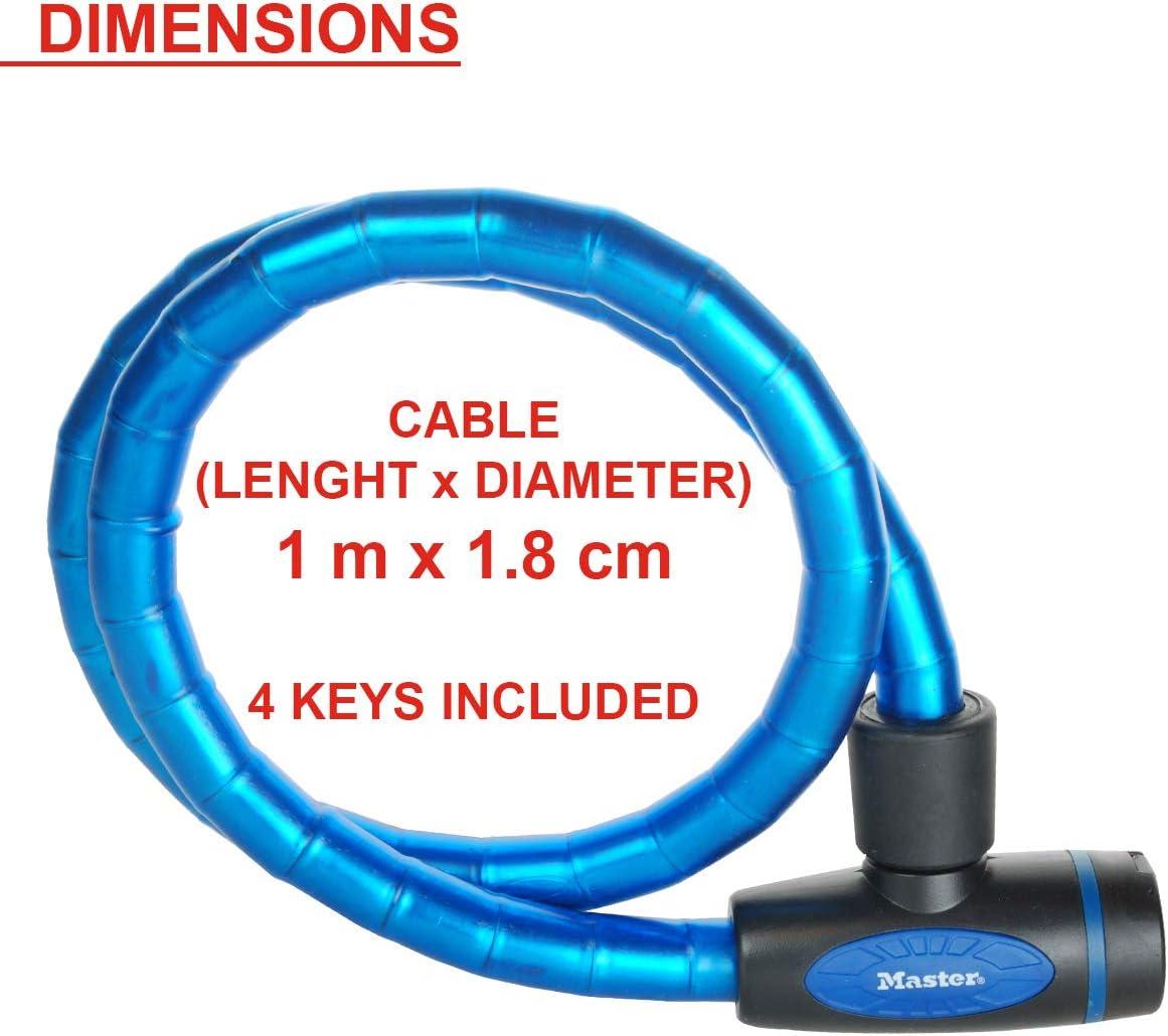 V/élo Electrique Bleu Cl/é Ext/érieur 8128EURDPROBLU Tondeuses et autres Equipements Id/éal pour V/élo Skateboard Poussettes MASTER LOCK Cable Antivol V/élo 1 m C/âble