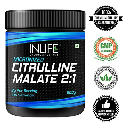 INLIFE Micronized Citrulline Malate Powder 2:1 Supplement, 200 grams – Unflavoured