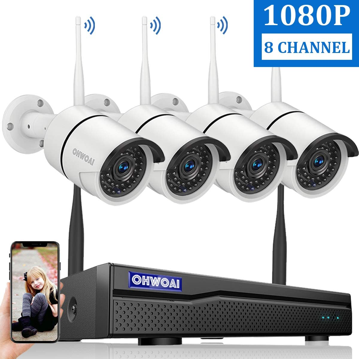 【2020 New 8CH Expandable】OHWOAI Security Camera System Wireless, 8CH 1080P NVR, 4Pcs 1080P HD Outdoor/ Indoor IP Cameras,Home CCTV Surveillance System (No Hard Drive)Waterproof,Remote Access,Plug&Play 61F2rtHe5rLSL1200_