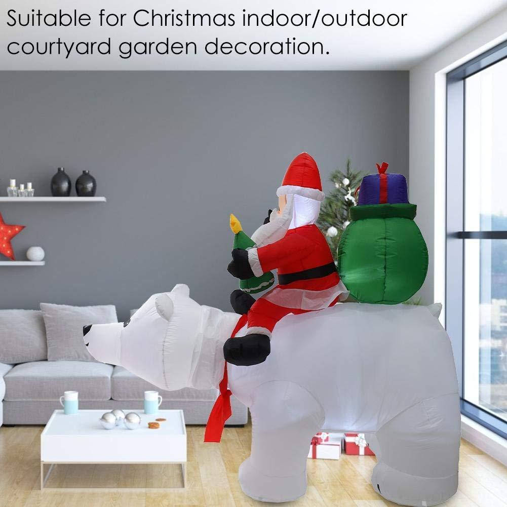 ZYEZI Modelo Inflable de Navidad, Montar Oso Polar Papá Noel para ...
