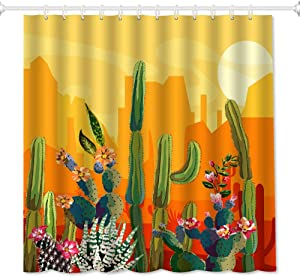 "QiyI Sunset Cactus Shower Curtain Set Succulent Plants Flowers 3D Print Fall Decor for Home Orange Bathroom Accessories Waterproof Machine Washable Fabric Bath Curtains with 10 Hooks 60"" W x 72"" L"