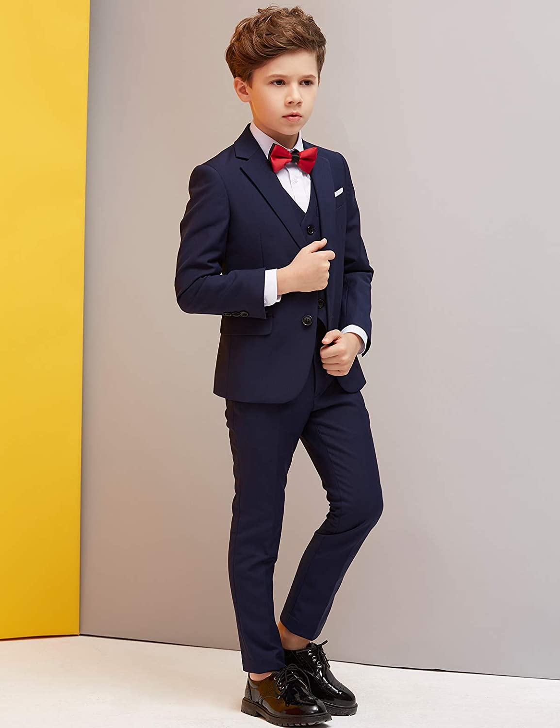 Navy Blue Suit for Wedding Suits Set ELPA ELPA Boys Suits Slim Fit Formal Dress Suit 6 Piece Teen Black Suit