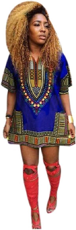 Culater® Mujeres Africana Vestido de la impresión Recta Ocasional de la Rodilla por Encima de los Mini Vestidos