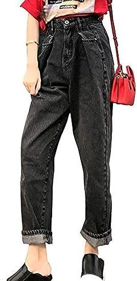 [ウンセン]レディース ファッションジーンズ デニム ロングパンツ ハイウエスト ウエストタック