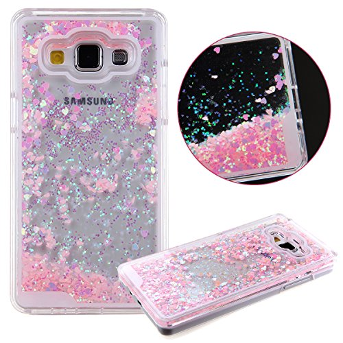 Samsung Galaxy Grand Prime Case, UZZO [Liquid Glitter] Transparent 3D Glitter Quicksand and Bling Sparkle Love Heart Dynamic Flowing Clear Hard Back Case for Samsung Galaxy Grand Prime (Heart: Pink)