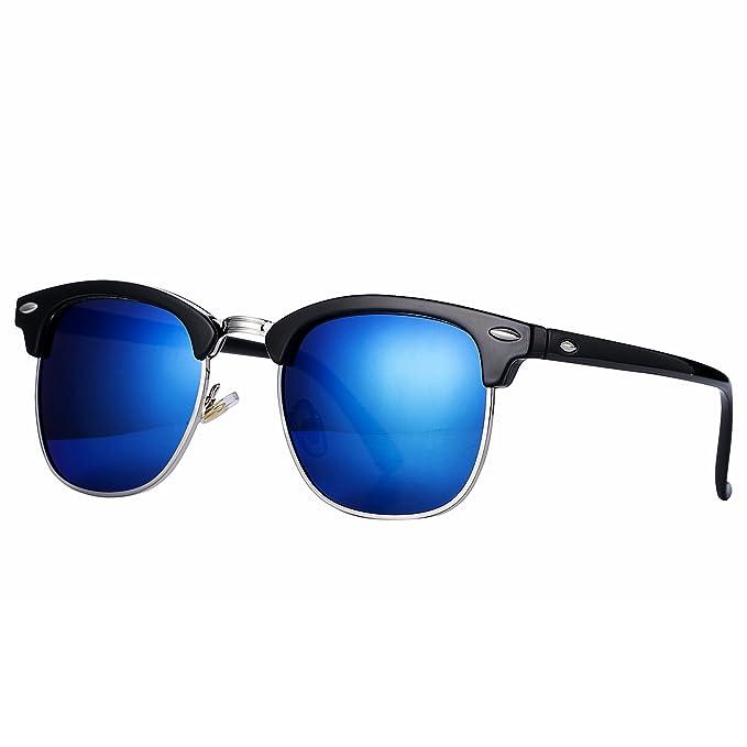 Pro Acme Gafas de sol polarizadas semi sin montura clásicas con remaches metálicos (Blue Mirrored