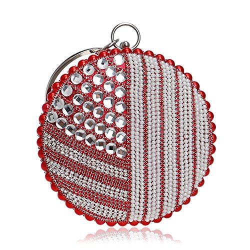 Bolsos Noche De De De Bolsa Roja Las Diamantes Vestido De Mujeres La Hombro Bolsos Tutú Cadena Garras Rebordear Monedero Boda De Perlas Xqvz4w