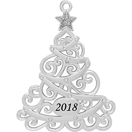 2018 Annual Christmas Tree Harvey Lewis™ Silver-plated Ornament - Made with  Swarovski® - Amazon.com : 2018 Annual Christmas Tree Harvey LewisTM Silver-plated