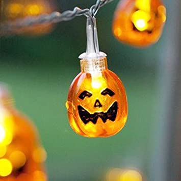 nascco 20 led battery operated string lights 3d pumpkin fairy lights outdoor lighting for halloween christmas - Halloween Outdoor Lights