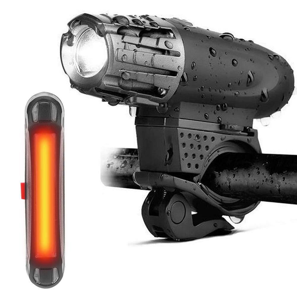 GOTOTOP Luci per Bicicletta Anteriore e Posteriore, Luce Anteriore e Posteriore Bici USB Ricaricabile, 3 modalità di Luce, Resistente all' Acqua Luce Bici 3 modalità di Luce Resistente all' Acqua Luce Bici
