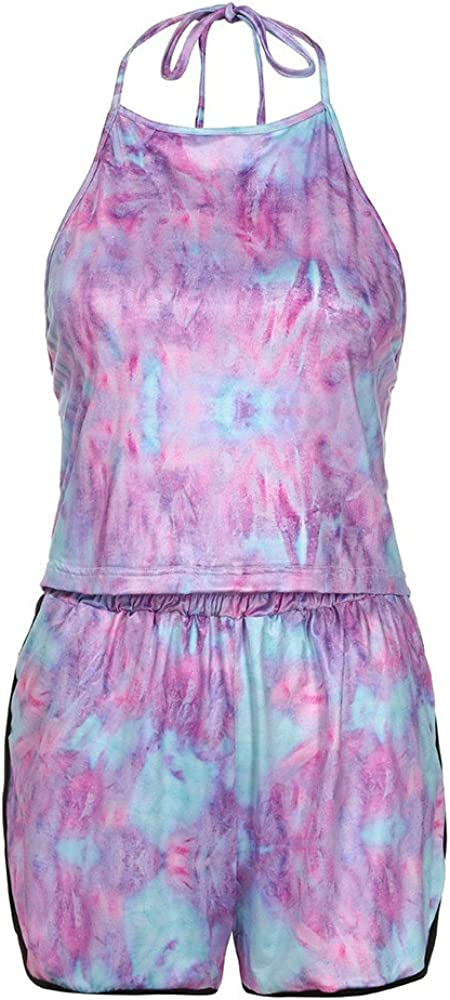 Nevera Women Tie Dye 2 Piece Outfit Halter Crop Top and Shorts Set