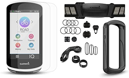 Garmin Edge 1030 Cycle Bundle w Chest HRM, Speed Cadence Sensors, PlayBetter Silicone Case Screen Protectors Bike Mounts GPS Bike Computer Bundle, Black Case