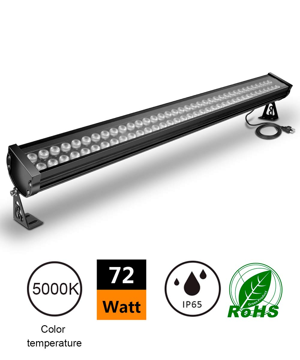 ATCD 72W LED Wall Washer Linear Light Bar, [200W HPS/HID Equivalent], 120V, IP65 Waterproof, 3.2ft/40 inches, Churches, Hotels, Resort, Advertisement Billboard Lighting(5000k Cold White)