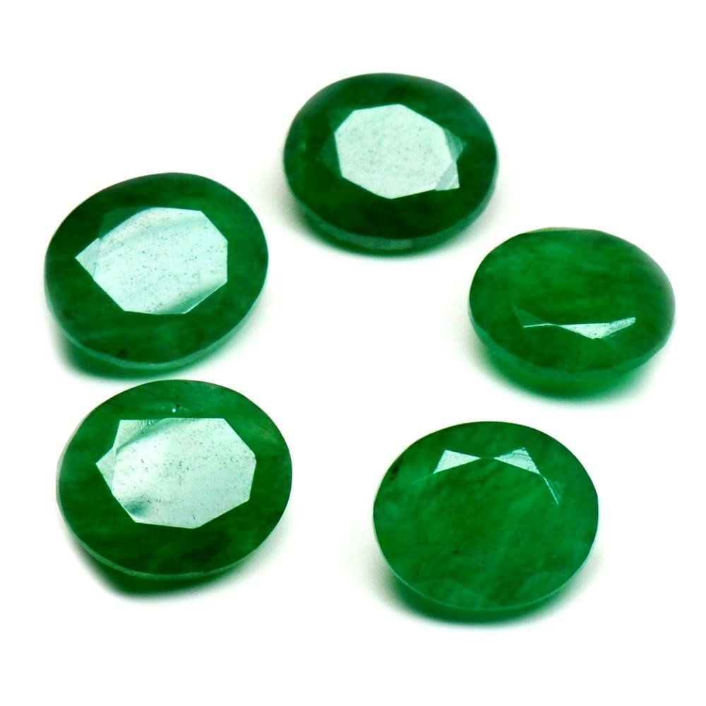 Real Indian Emerald Loose Gemstone Lot Total 15 Carat 5 Pieces Oval Shape Healing Birthstone at Wholesale Gemsyogi EOVAL-3