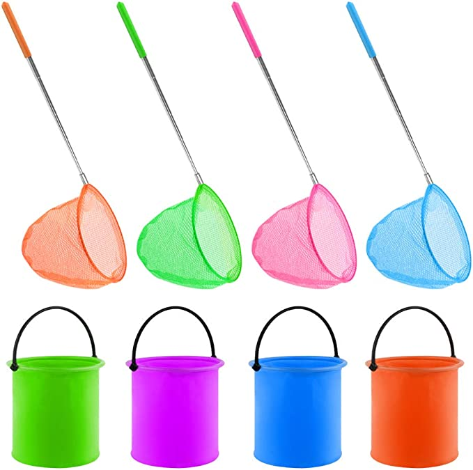 Stainless Steel Children Children Fishing Net and Bucket Toy Outdoor Extentable V1Y4