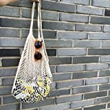 YingKu Cotton Net Shopping Tote Ecology Market String Bag Organizer, New Fashion for Street Snap (Long Strap, White)