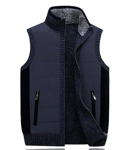 Fensajomon Mens Knitted Stitching Zip Up Sweater Vest Jacket ...
