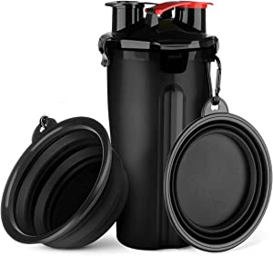 Dog Water Bottle Dog Bowls for Traveling Pet Food Container 2-in-1 with Collapsible Dog Bowls, Outdoor Dog Water Bowls for Walking Hiking Travelling
