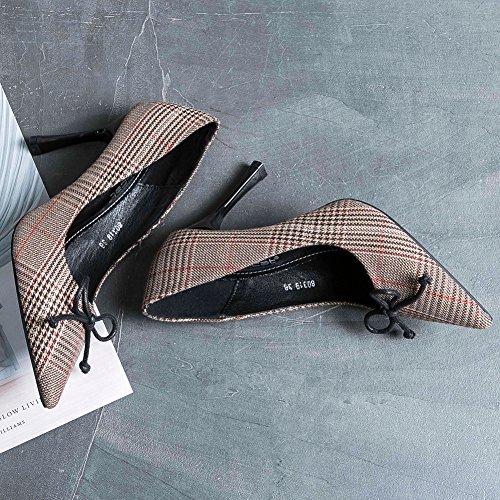 Haut Escarpins Inconnu Carreaux Pointu Brun Noeud Talon 35 Élégante Mode Femme Aiguille Chaussure Talon Chaussure vwqEHF