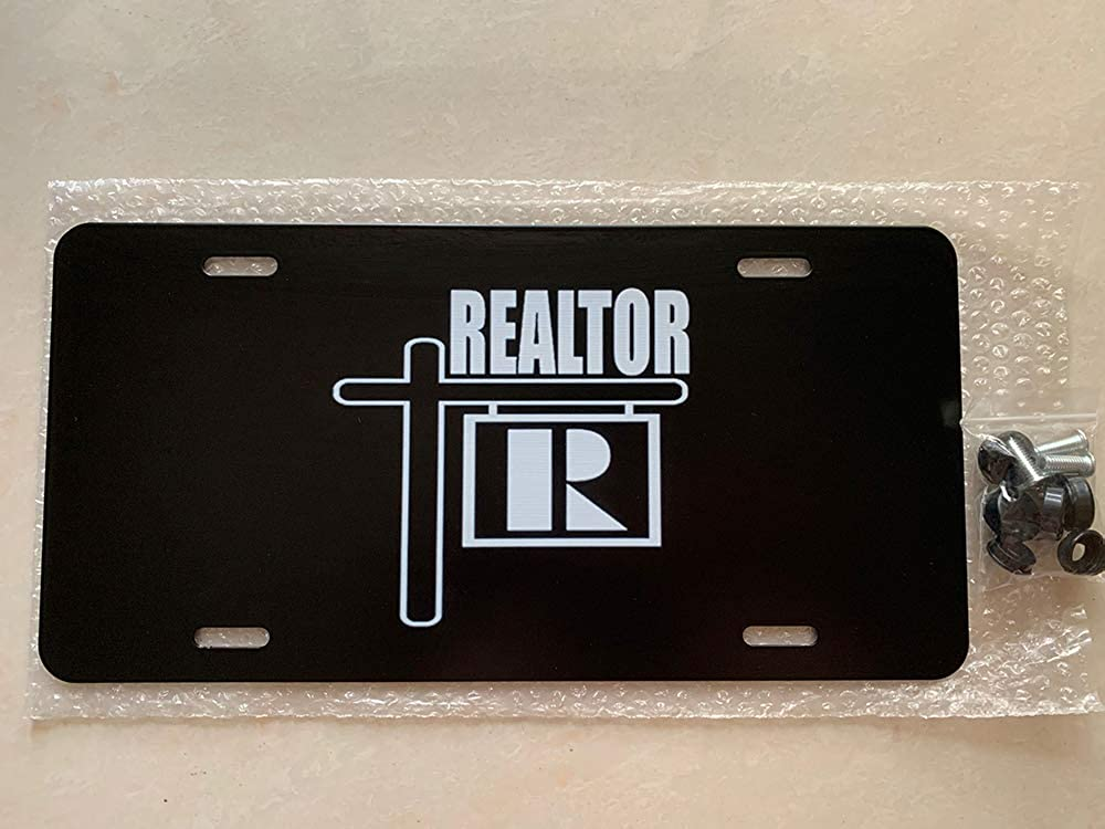 12 X 6 inches Realtor Real Estate Custom License Plate Cover Novelty Aluminum Auto Car Tag Sign with 4 Holes