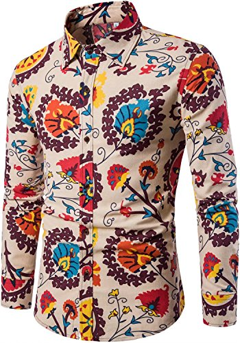 HENGAO Men's Long Sleeves Novelty Design Tribal Floral Print Regular Fit Button Down Dress Shirt, L/42R = Tag ()