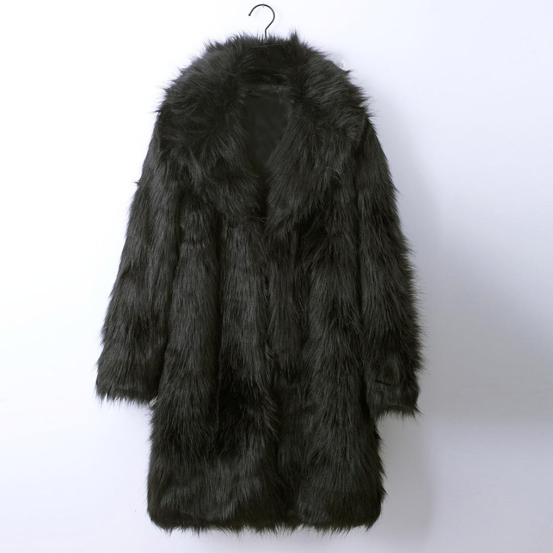 OverDose Abrigos Hombre Invierno Elegante Piel sintética con Capucha Abrigo Largo S-XXXL