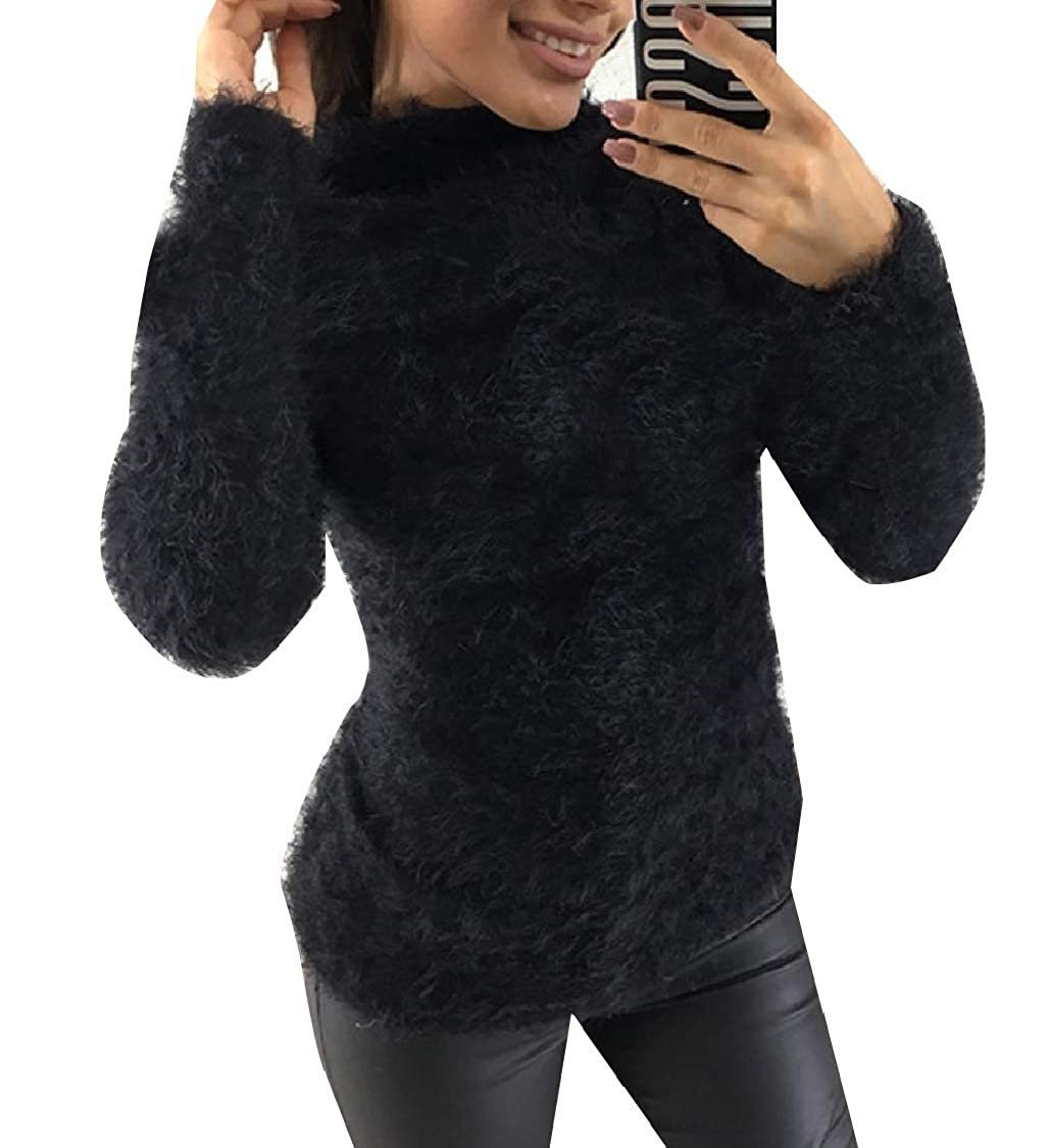 WQ&Energy Women Turtleneck Hairy Fall Winter Relaxed Tops T Shirts Blouse:  Amazon.in: Clothing & Accessories