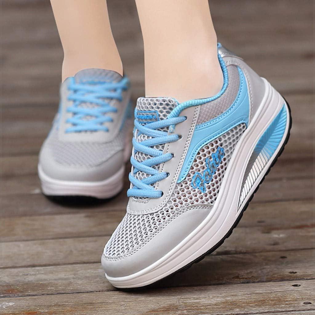 Alwayswin Damen Plattform Turnschuhe Walkingschuhe Mesh Atmungsaktiv Sneakers Freizeitschuhe Student Laufschuhe Outdoor-Sportschuhe Bequemer Weicher Boden Fitnessschuhe