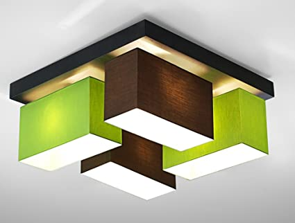 Deckenleuchte Wohnzimmer Wero Design Vitoria 001 Braun/Green Leuchte  4 Flammig Holz Stoff