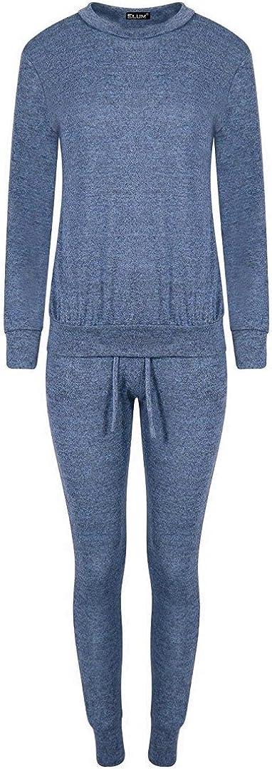 Elum /® Womens Plain Long Sleeves Loungwear Suit