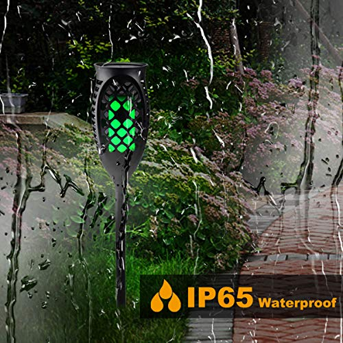 Juhefa Solar Lights Outdoor, Solar Torch Light Green Flickering Flame 99 LED Waterproof Garden Lighting Pathway Patio Landscape Decoration, 3 Modes & 3 Installation Ways, Dusk to Dawn Auto On/Off (4) by Juhefa (Image #2)