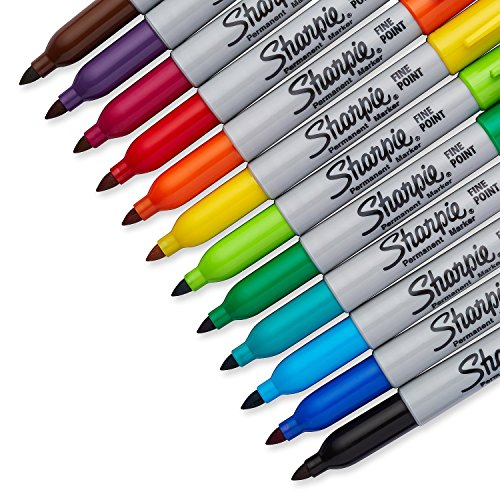 - 2 Packs of Sharpie Assorted Colored, Fine Point Permanent Markers, 12-Count, Total of 24 Markers