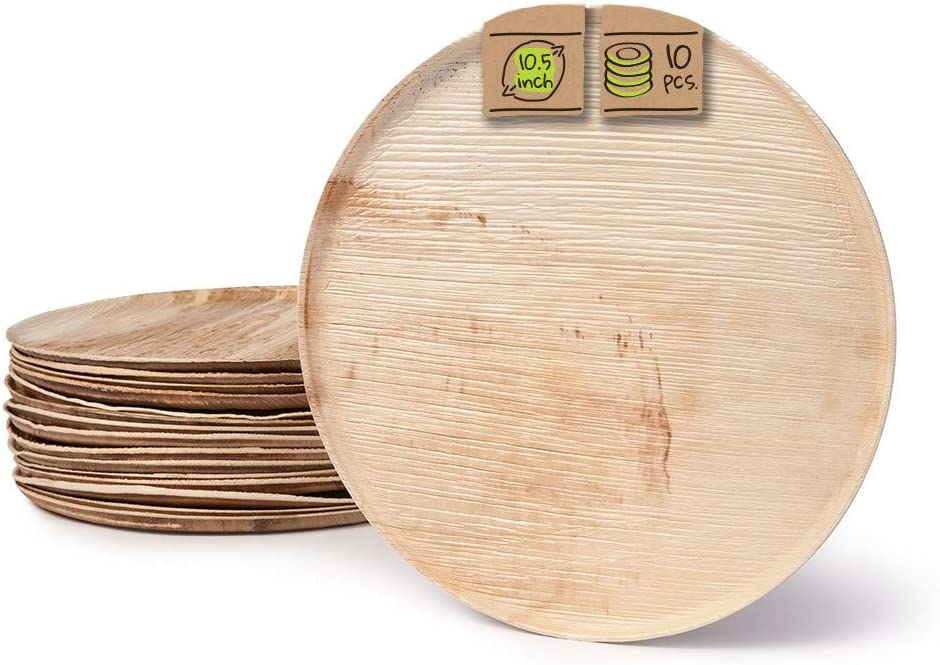 """Naturally Chic Palm Leaf Compostable Serving Trays   10.5"""" Round, Biodegradable Disposable Eco Friendly Trays for Weddings, Parties, BBQs, Events (10 Pack)"""