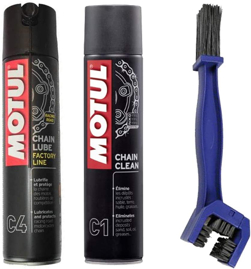 Motul - Kit de limpiador lubricante para cadena C4 400 ml + cepillo de limpieza para la cadena