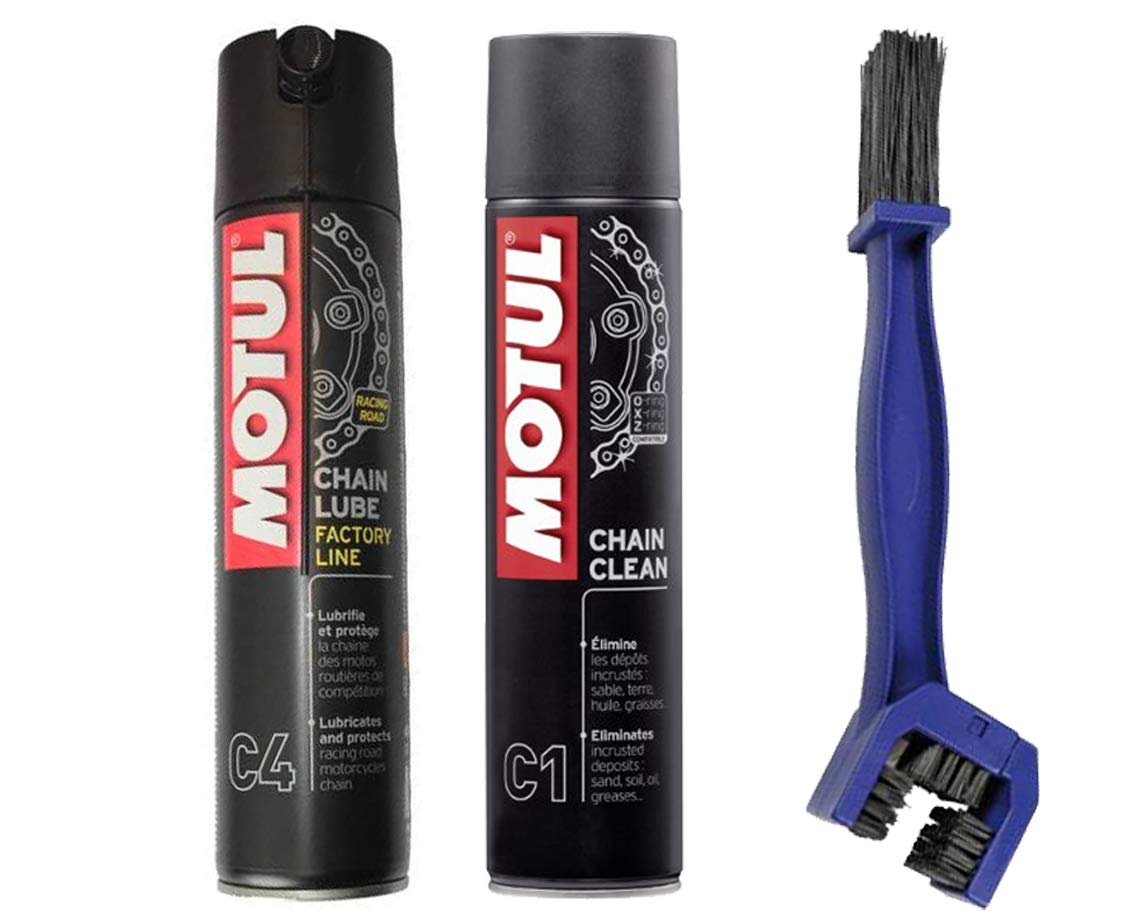 Chain Cleaning Kit Lubricates –  Motul C4 400 ml + C1 400 ml + Chain Cleaning Brush MOTUL + LAMPA