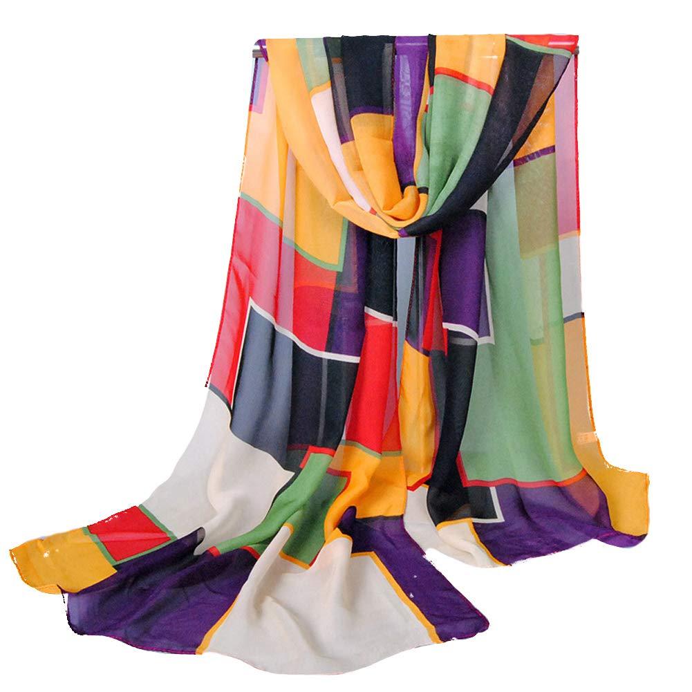 quanjucheer Color Block Donna Outdoor Viaggio Morbido Liscio Lunga Sciarpa Scialle Gift 1#