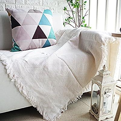 XYSFT: Manta de sofá de algodón orgánico Suave y Decorativa, Manta ...