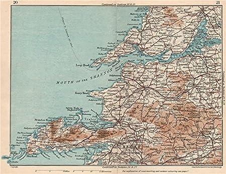 Map Of Ireland Showing Dingle.Dingle Peninsula Shannon Kerry Clare Limerick Vintage Map