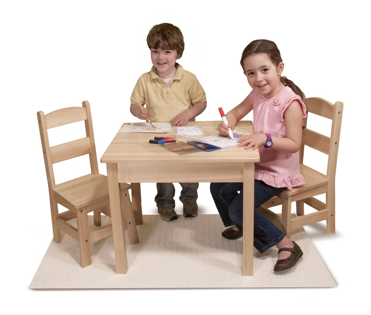 Amazon com  Melissa   Doug Solid Wood Table and 2 Chairs Set   Light Finish  Furniture for Playroom  Melissa   Doug  Toys   Games. Amazon com  Melissa   Doug Solid Wood Table and 2 Chairs Set