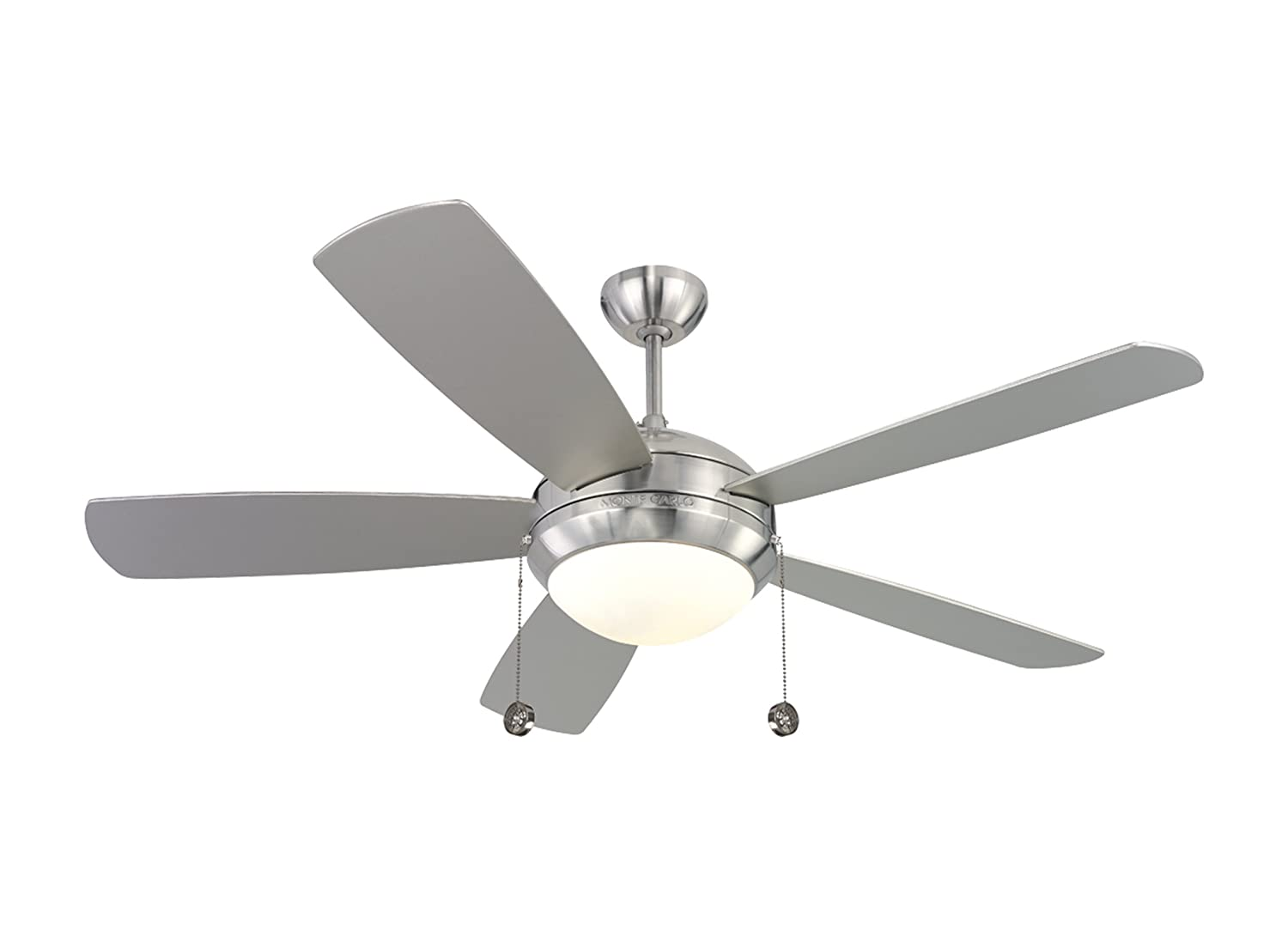 """Monte Carlo 5DI52BSD-L, Discus, 52"""" Ceiling Fan, Brushed Steel - Outdoor  Ceiling Fans With Lights - Amazon.com"""
