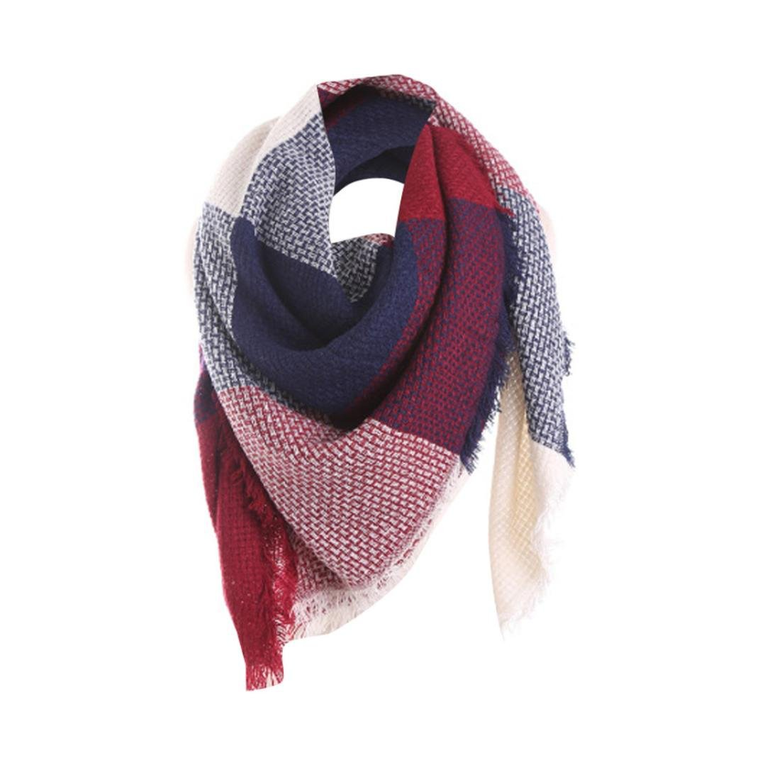 Scarves, FUNIC Fashion Women Colorful Stitch Long Cashmere Wool Shawl Plaid Neck Scarf (Blue)