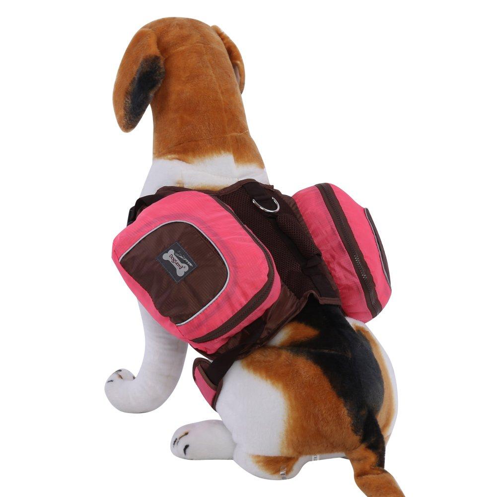 Saddle Bag Backpack for Large Dog, Pet Dog Outdoor Travel Backpack Adjustable Large Capacity Backpack, Optional Size(XL-Orange) Wal front