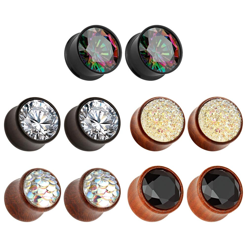 TBOSEN 5 Pairs Set Gauges Wood Tunnels Earrings Zircon Stone Body Jewelry Stretching Tapers Expanders Wooden Ear Plugs