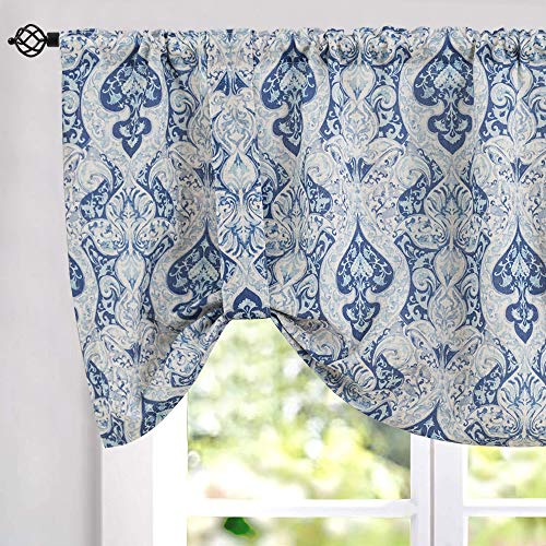 Tie Up Valances for Kitchen Windows Retro Linen Blend Damask Printed Tie-up Valance Curtains Rod Pocket Adjustable Rustic Medallion Tie-up Shade for Small Windows 18 Inches Long (1 Panel, Blue)