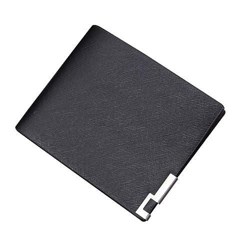 WeoHau Billetera Paquete De La Tarjeta De Moda Lienzo Cartera Hombre Monedero Corto Casual Simple Negro
