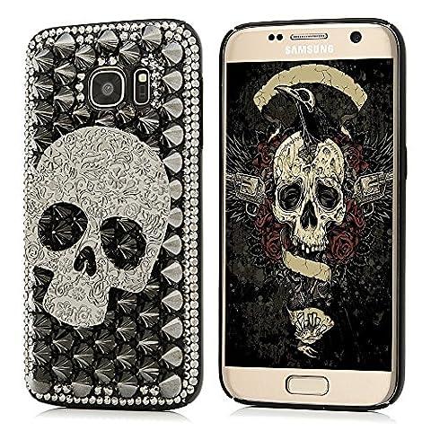 S7 Case,Samsung Galaxy S7 Case - Mavis's Diary Luxury 3D Handmade Bling Crystal Shiny Sparkle Glitter Diamonds Rhinestone Design Hard Black PC Cover with Protective - Juicy Full Diamond