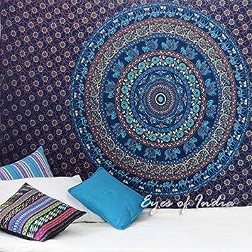 Eyes of India Small Twin Blue Elephant Indian Mandala Tapestry Bedspread Beach Blanket Dorm Bohemian Boho